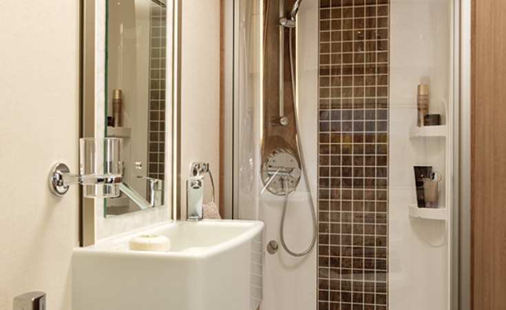Large Shower and Array of Lighting